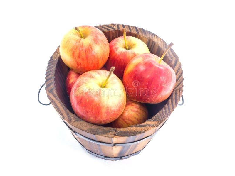 jabłek wiadra czerwień drewniana fotografia royalty free