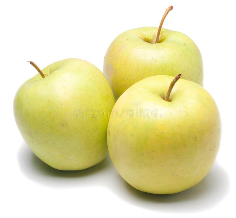 jabłek zieleni odosobniony biel fotografia stock