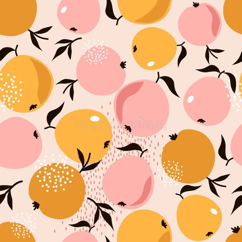Jabłka i liście, kolorowy bezszwowy wzór royalty ilustracja
