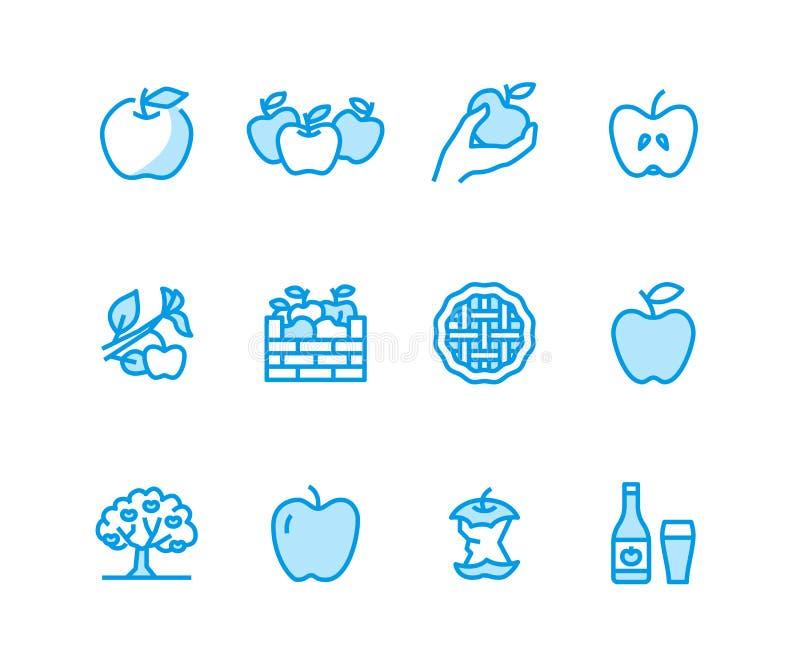 Jabłka mieszkania linii ikony Jabłczany zrywanie, jesieni żniwa festiwal, rzemiosło cydru wektoru owocowe ilustracje Cienieje zna royalty ilustracja