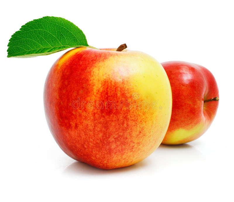 jabłka owoc zieleń opuszczać czerwień fotografia stock