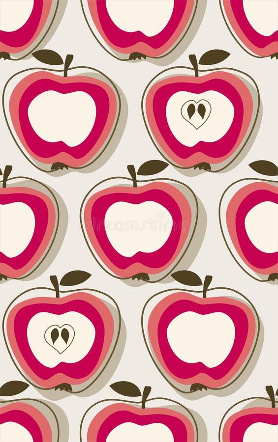 jabłka retro deseniowy royalty ilustracja