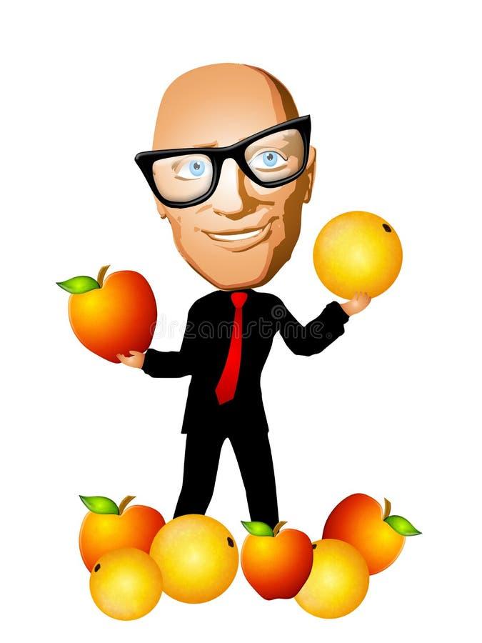 jabłka w porównaniu z pomarańczy royalty ilustracja