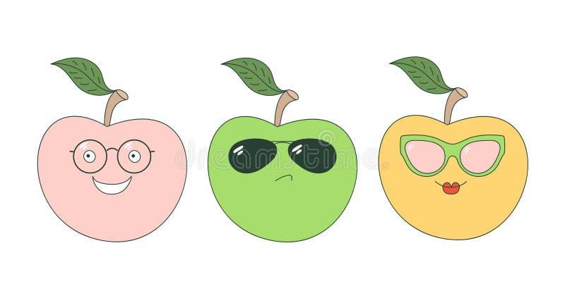 Jabłka w szkło majcherach ilustracji