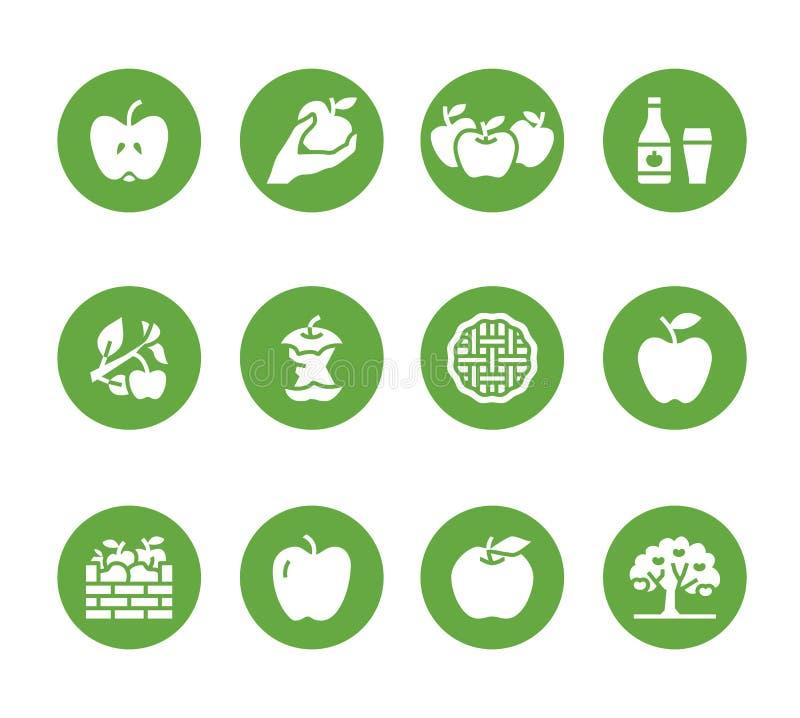 Jabłko glifu płaskie ikony Jabłczany zrywanie, jesieni żniwa festiwal, rzemiosło cydru owocowe ilustracje Stali sylwetka znaki ilustracja wektor