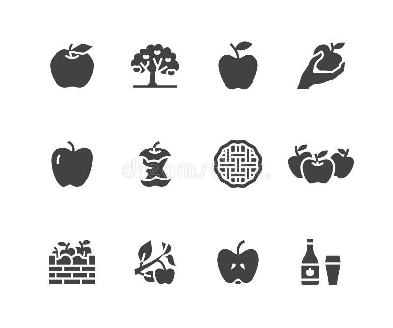 Jabłko glifu płaskie ikony Jabłczany zrywanie, jesieni żniwa festiwal, rzemiosło cydru owocowe ilustracje Znaki dla żywności orga ilustracja wektor