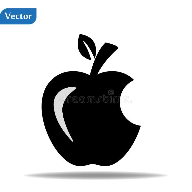 Jabłko gorzkie. Ikona wektora Apple. Ikona ilustracji owoców jabłek. Logo wektora projektowania sieci Web. Apple wyizolowane w  ilustracji