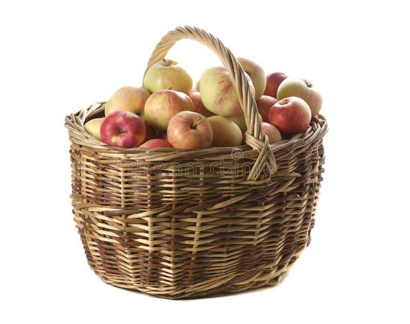 jabłko kosz tkane zdjęcia stock