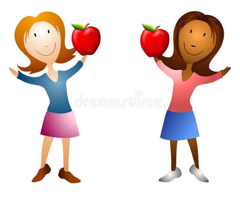 jabłko kreskówki gospodarstwa kobiety ilustracja wektor