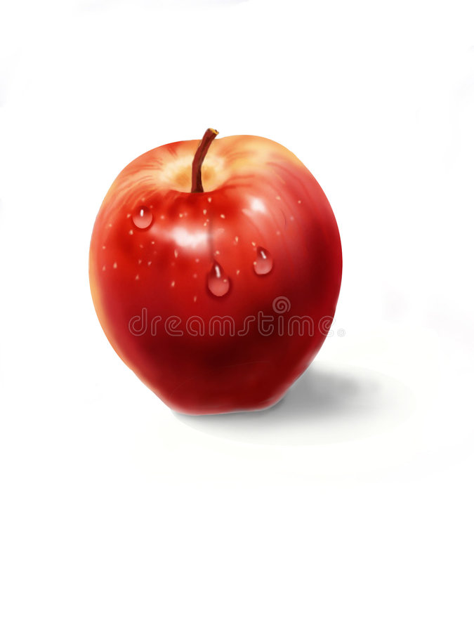 jabłko kropli wody. ilustracja wektor