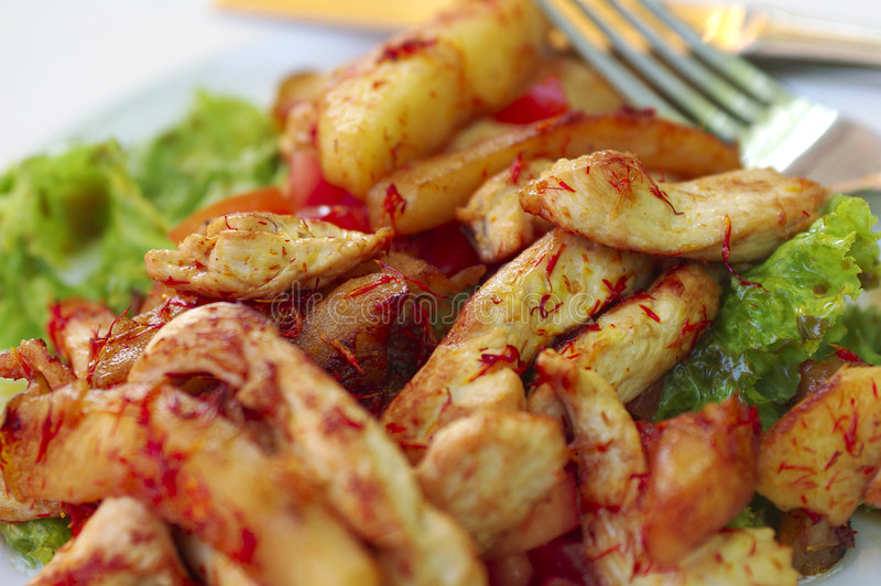 jabłko kurczaka sałatę gorąca sałatka przyprawiał ik pomidorów fotografia royalty free
