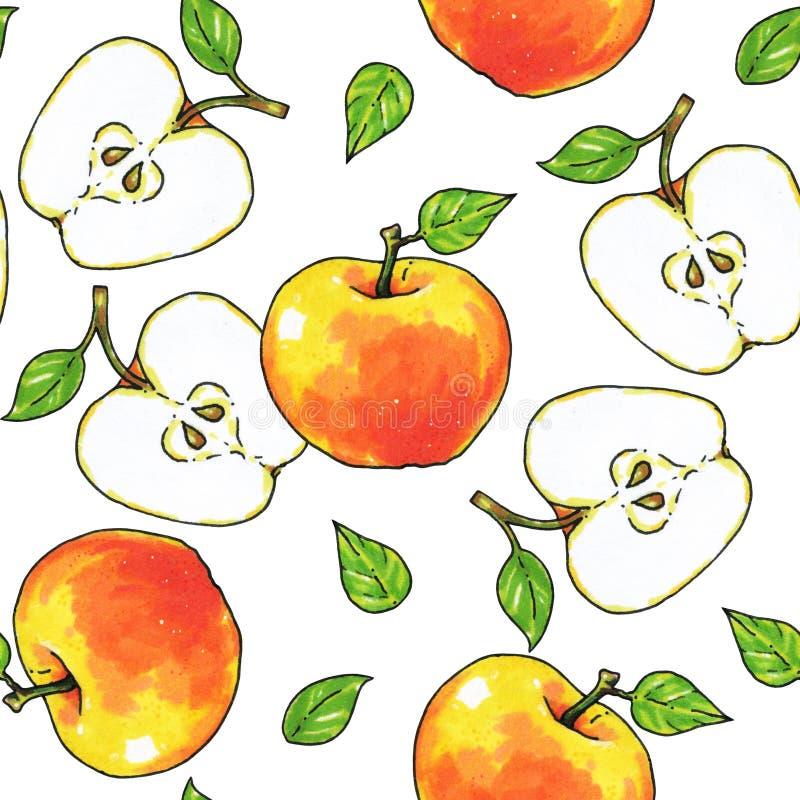 Jabłko owoc odizolowywają na białym tle zdrowa żywność handwork Dla projekta bezszwowy wzór royalty ilustracja