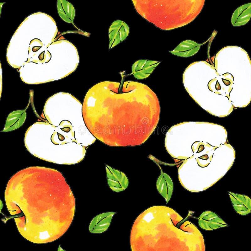 Jabłko owoc odizolowywają na czarnym tle zdrowa żywność handwork Dla projekta bezszwowy wzór royalty ilustracja
