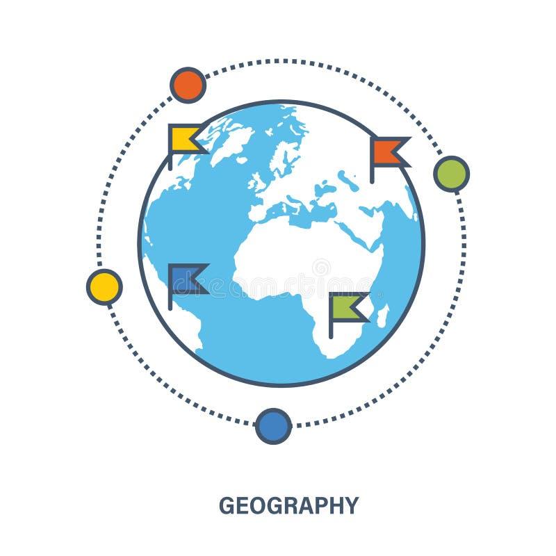 jabłko rezerwuje pojęcia edukaci czerwień Geografia jako podległa dyscyplina ilustracja wektor