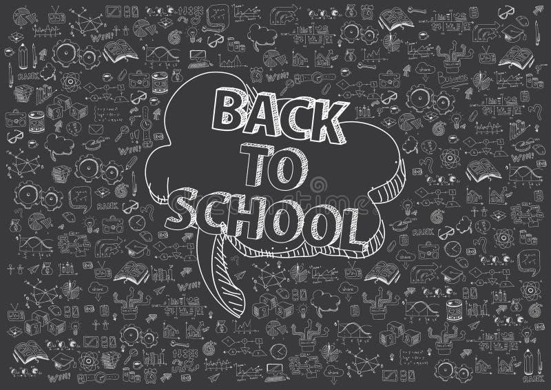 jabłko rezerwuje pojęcia edukaci czerwień Szkolny tło z ręki rysować szkolnymi dostawami i komiczna mowa gulgoczemy z Z powrotem  royalty ilustracja