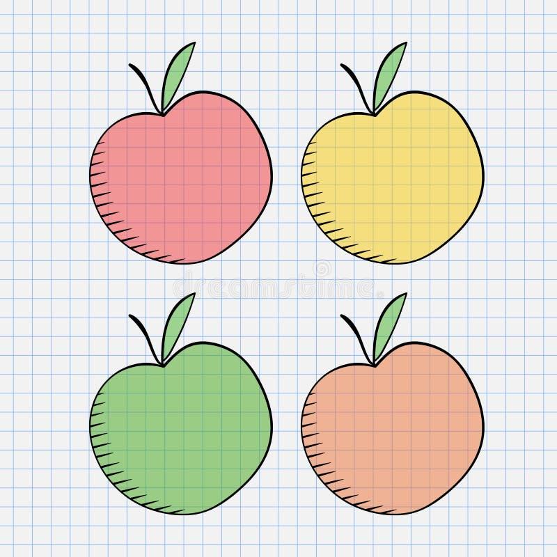 jabłko rysująca ręka royalty ilustracja