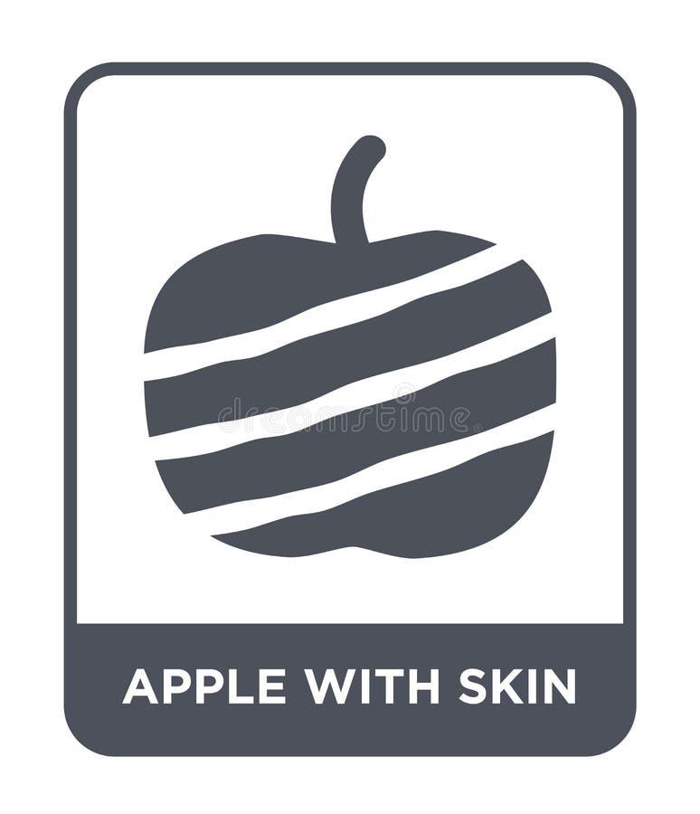 jabłko z skóry ikoną w modnym projekta stylu jabłko z skóry ikoną odizolowywającą na białym tle jabłko z skóry wektorową ikoną pr royalty ilustracja