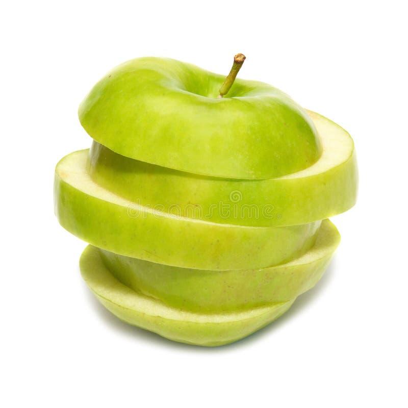jabłko - zieleń pokrajać fotografia stock