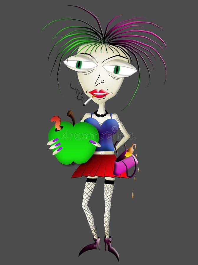 jabłko - zielonego mienia przyglądająca niezdrowa kobieta zdjęcie stock