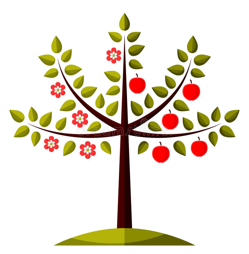 Jabłoń w dwa sezonach royalty ilustracja