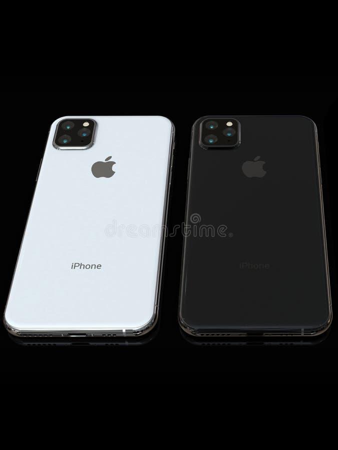 Jab?czana iPhone Xs nast?pca, 2019, plotkuj?ca projekt symulacja fotografia royalty free