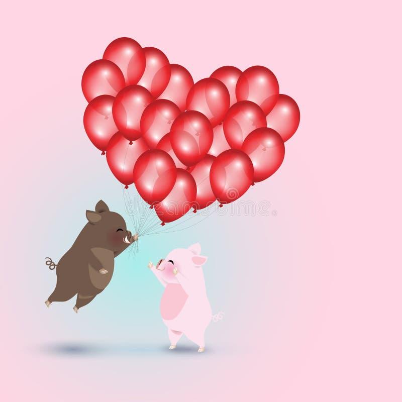 Jabalí con los globos y el cerdo rojos ilustración del vector