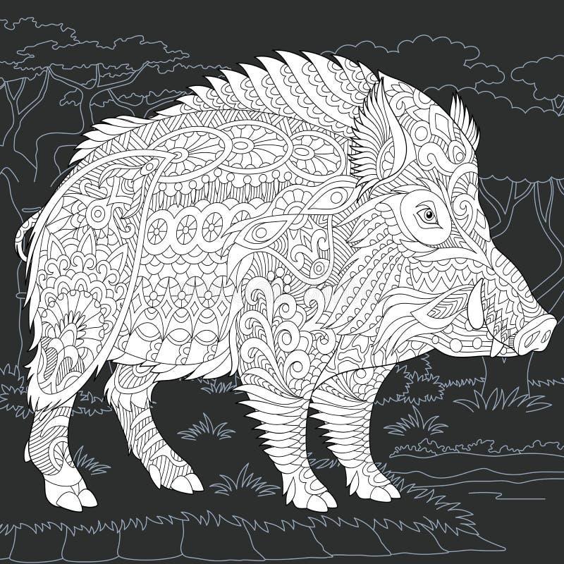 Jabalí en estilo blanco y negro libre illustration
