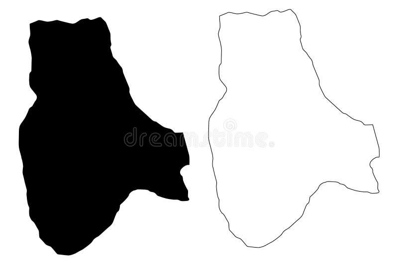 Jabal al Gharbi District Districts of Libya, State of Libya, Tripolitania map vector illustration, scribble sketch Jabal al. Gharbi map stock illustration