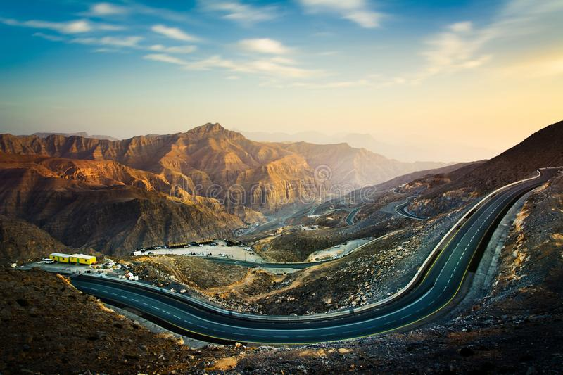 Jabal Jais the highest mountain in the UAE. Home of the longest zip line in the world stock images