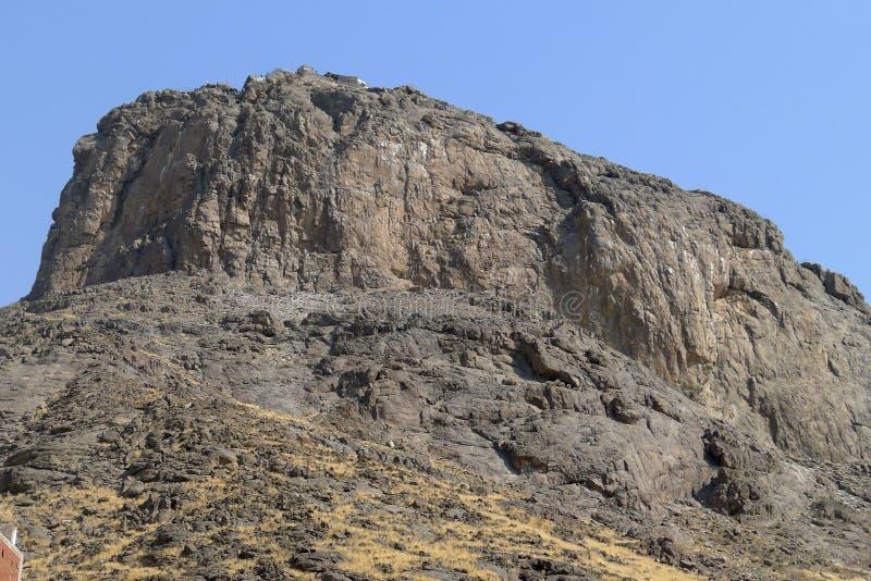 Jabal Nour (Nour Mountain - berg van licht) in Mekka, Saudi-Arabië. De helderziende Muhammad (de vrede is op hem) ontving zijn eer royalty-vrije stock fotografie