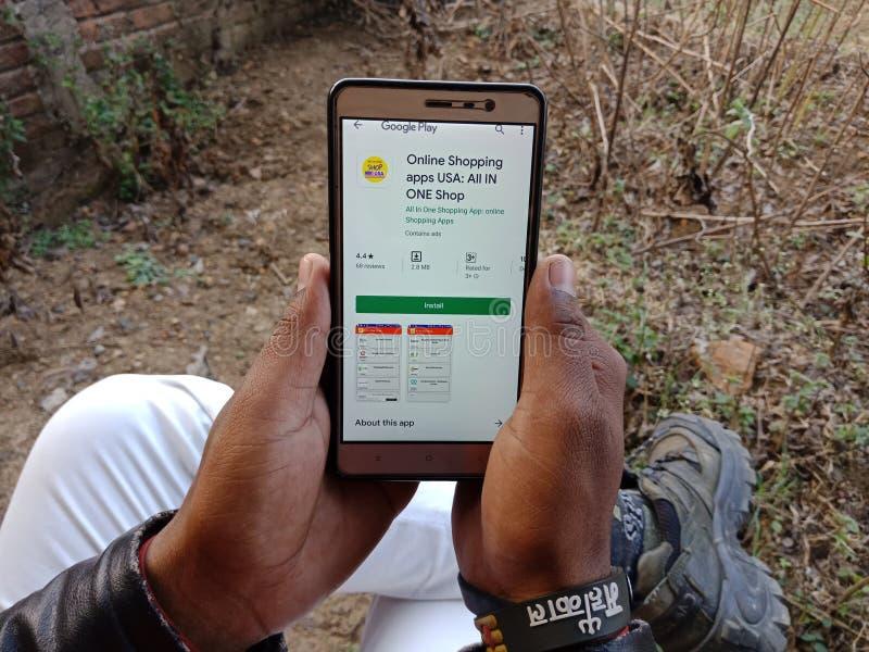 jabalpur, India - diciembre de 2019: toda en una aplicación de compras en línea que se presenta en la pantalla de un teléfono int fotos de archivo