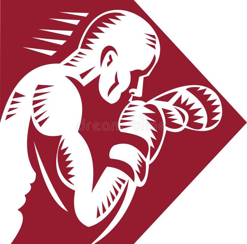 jabbing бой боксера иллюстрация штока