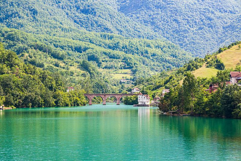 Jablanicko lake in village Ribici with old bridge in Bosnia and Herzegovina.  stock image