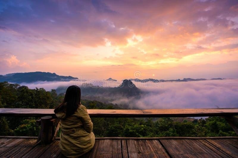 Jabo viewpoint in morning at Jabo Village, Mae Hong Son Province royalty free stock photo