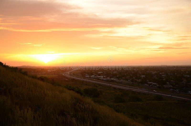 Jaburara solnedgång royaltyfri bild