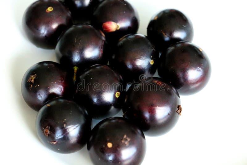 Jabuticaba o Jaboticaba è una frutta violaceo-nera e bianco-spappolata fotografie stock