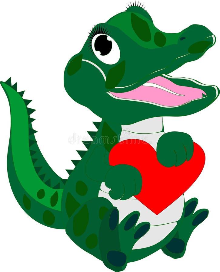 Jacaré do bebê com um coração loving ilustração do vetor