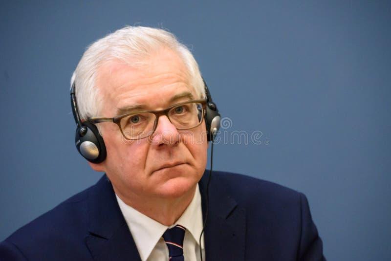 Jacek Czaputowicz, el Ministro de Asuntos Exteriores de Polonia imagenes de archivo