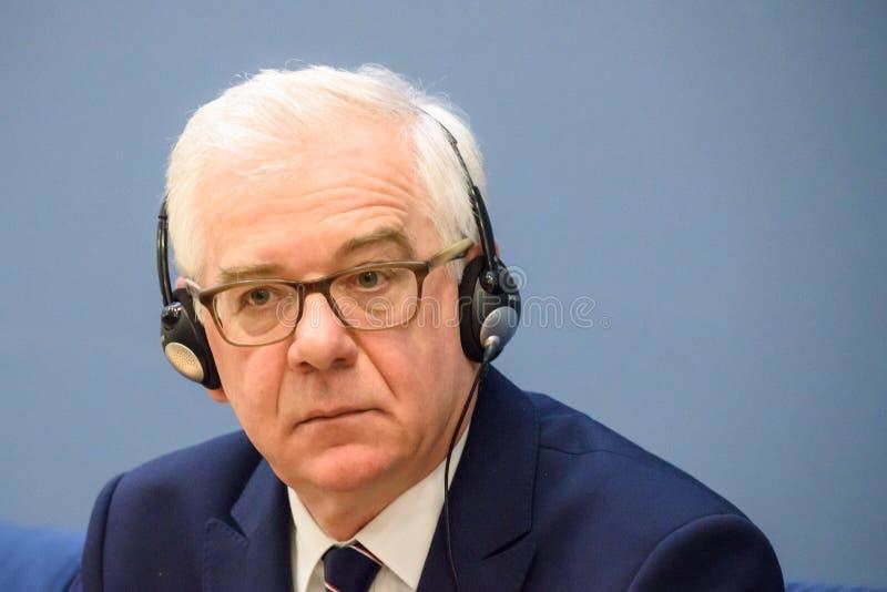 Jacek Czaputowicz, el Ministro de Asuntos Exteriores de Polonia imagen de archivo libre de regalías