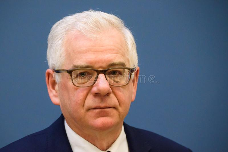 Jacek Czaputowicz, Minister of Foreign Affairs of Poland. 09.05.2018. RIGA, LATVIA.Press conference after meeting of Edgars Rinkevics, Minister of Foreign stock images
