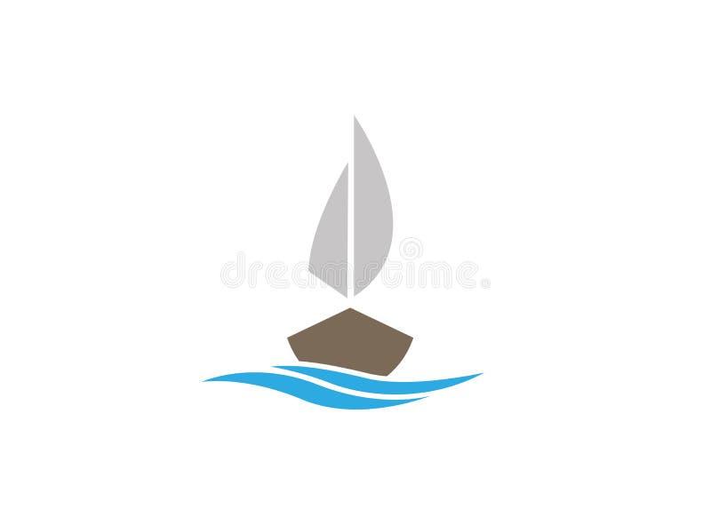 Jacht die in het overzees met meer voor embleem varen vector illustratie