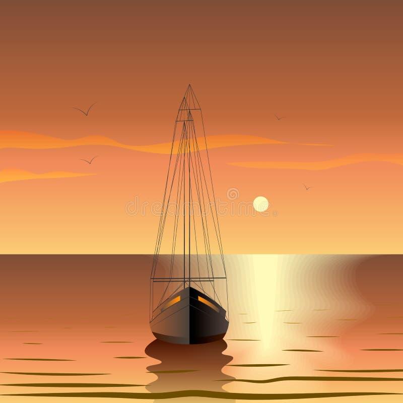 Jacht in het overzees bij zonsondergang De zomer romantische reis royalty-vrije illustratie