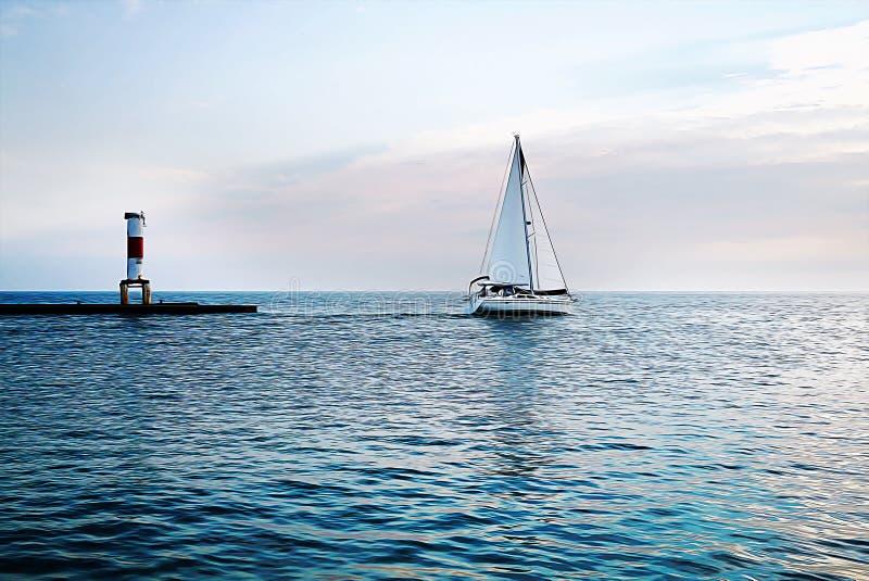 Jacht i latarnia morska przy zmierzchem w błękitnym morzu Biały żagiel a royalty ilustracja