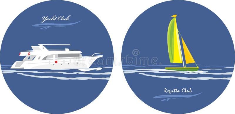 Jacht i regatta klub. Ikony dla projekta ilustracji