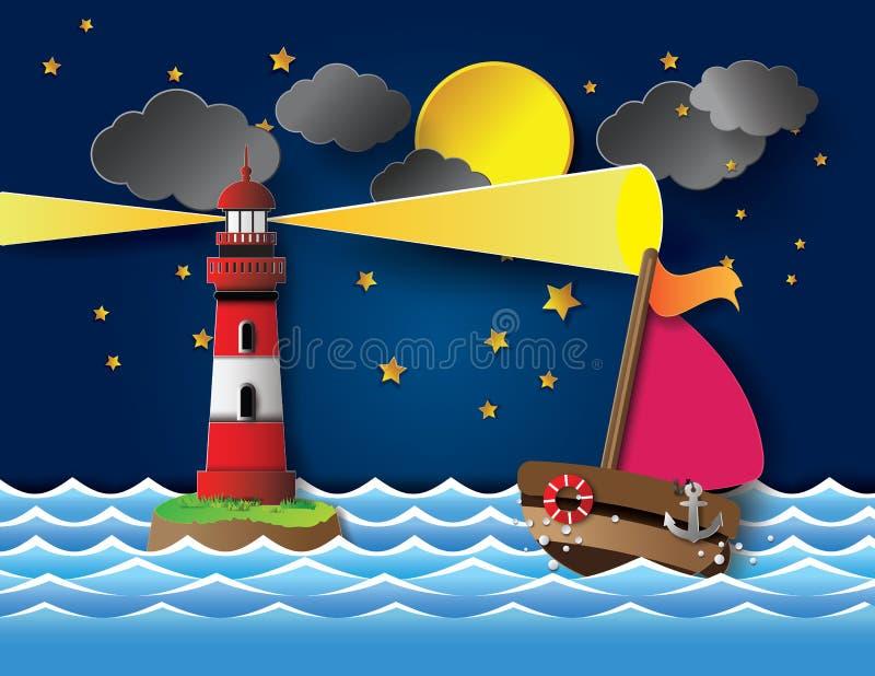 Jacht na dennym nocy księżyc w pełni z latarnią morską ilustracja wektor