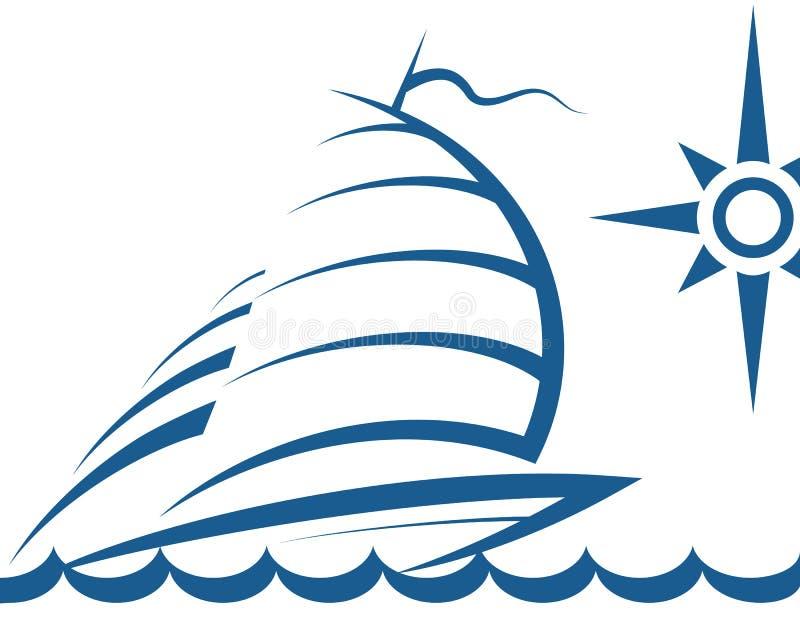 Jacht na fala ilustracja wektor