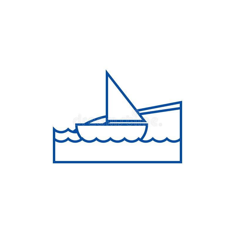 Jacht op overzees, het concept van het de lijnpictogram van de strandvakantie Jacht op overzees, het vlakke vectorsymbool van de  stock illustratie