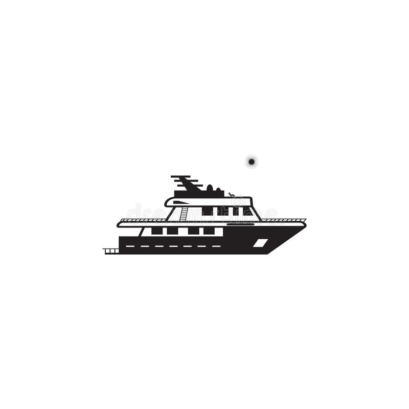 jacht op zee in zonnig weerpictogram Element van schipillustratie Grafisch het ontwerppictogram van de premiekwaliteit Tekens en  stock illustratie