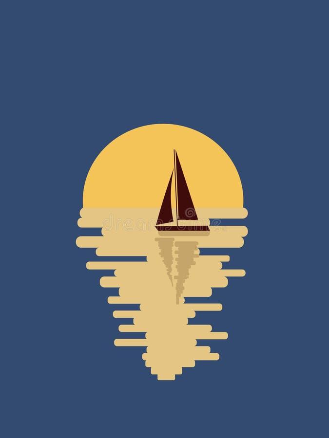 Jacht spacerowa? w nocy ilustracja wektor