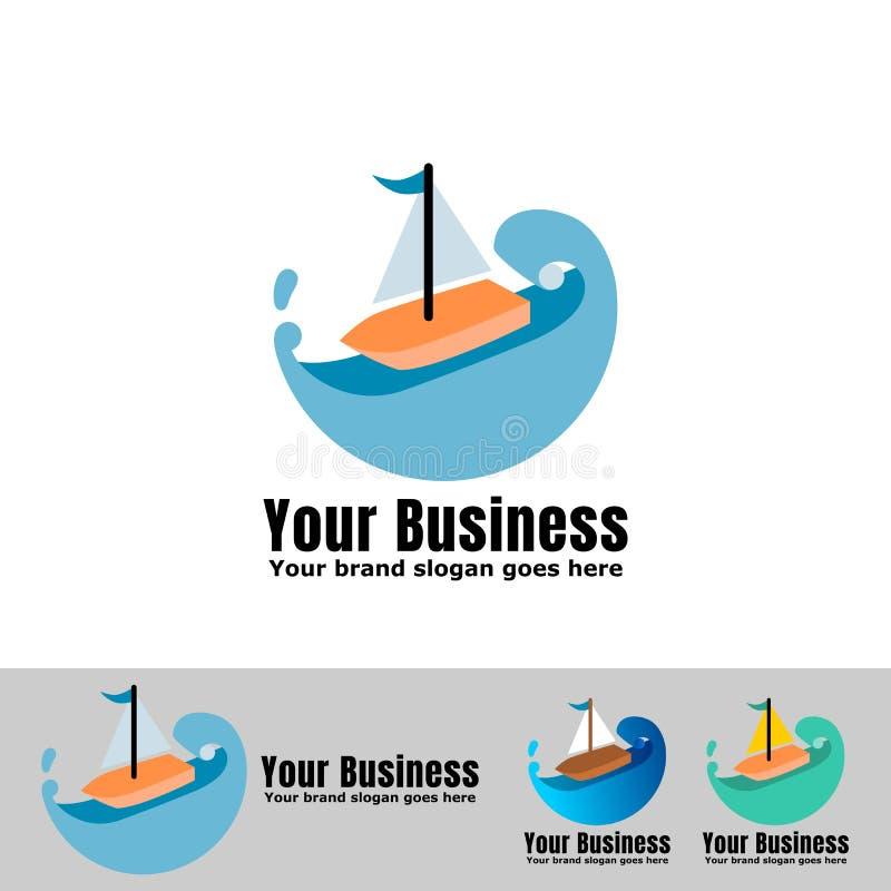 Jacht z morze fali logo ilustracji